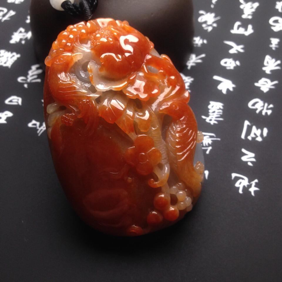 (超值推荐)糯冰种红黄翡花开富贵翡翠