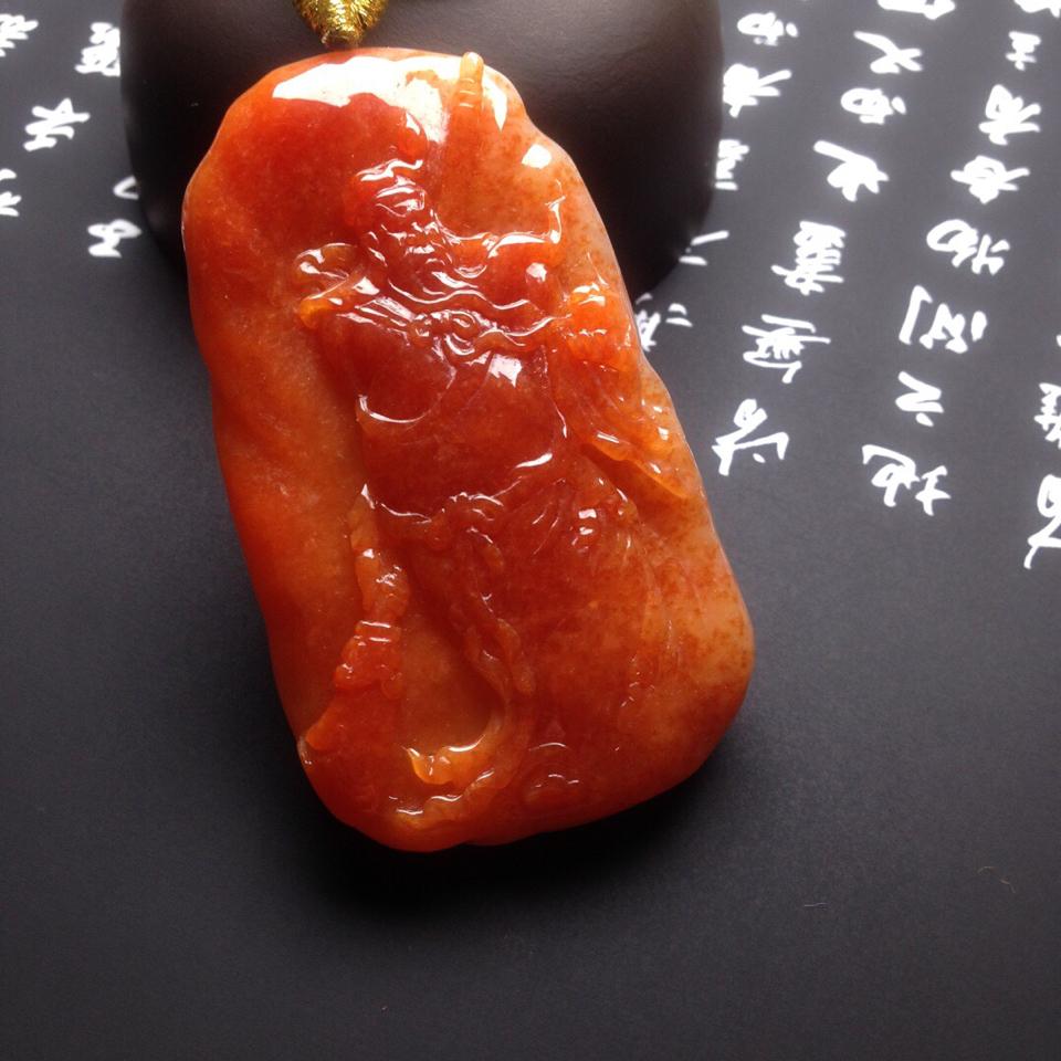 (超值推荐)糯冰种红黄翡关公翡翠