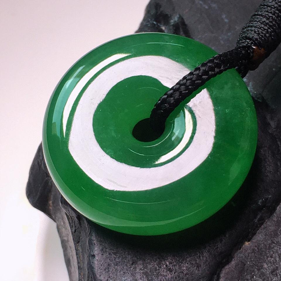 冰种浓绿平安扣挂件翡翠