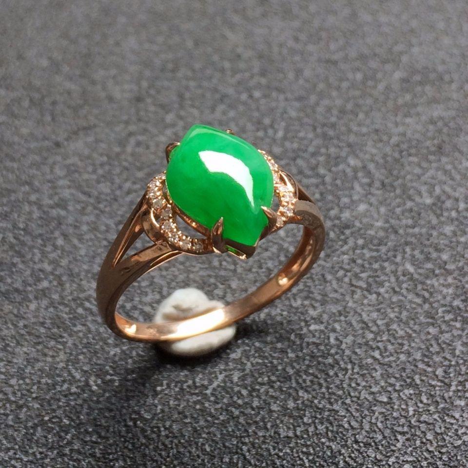 (超值推荐)镶18K玫瑰金钻石糯冰种翠色戒指