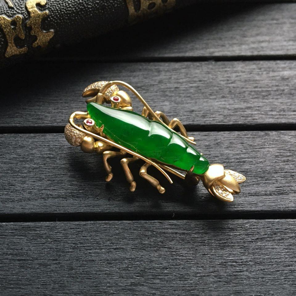 冰种正阳绿镶黄18k金钻石玉虾胸针/胸坠(两用)