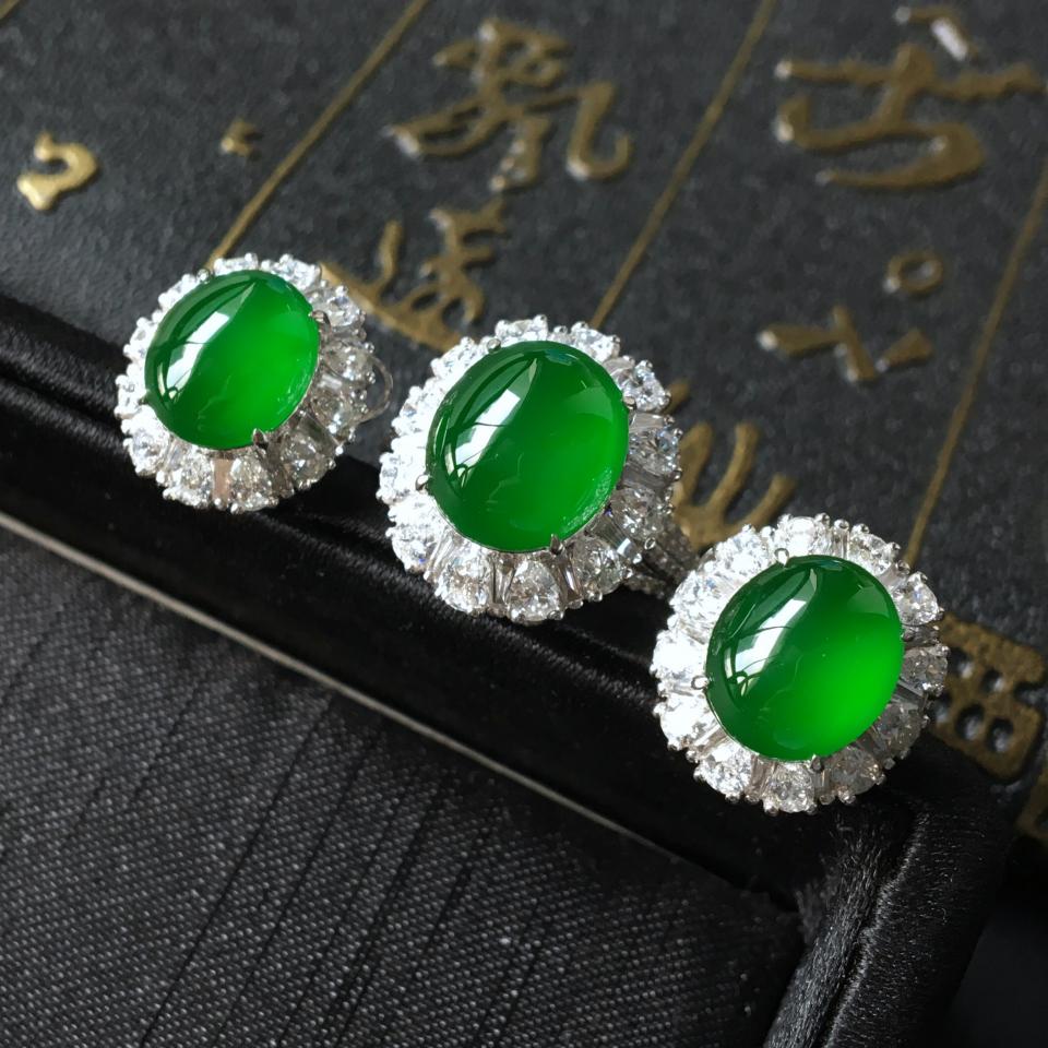 冰玻种帝王绿镶白金钻石戒指/耳钉(一套)