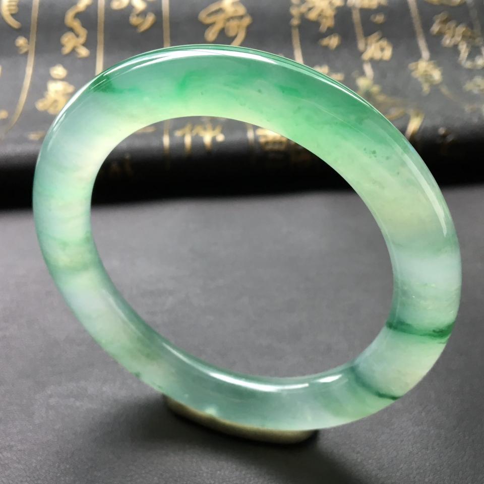 冰种飘花带翠圆条手镯(57.6mm)