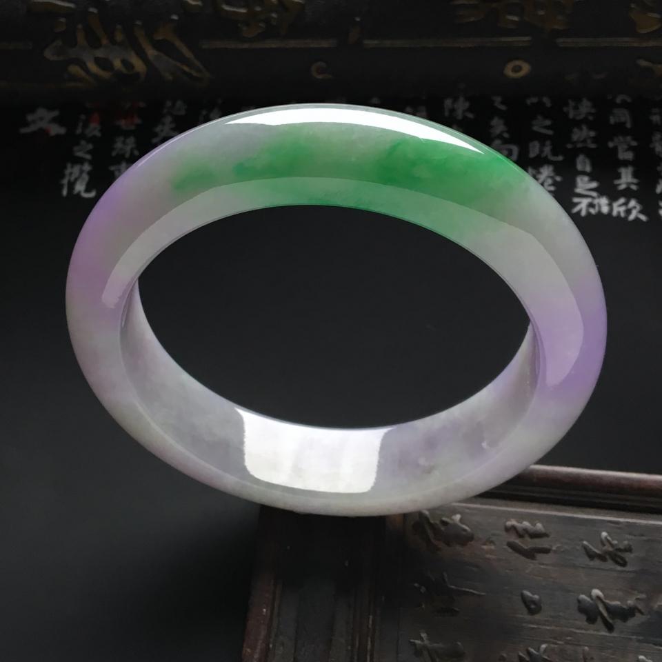 糯冰种春带彩手镯(57mm)