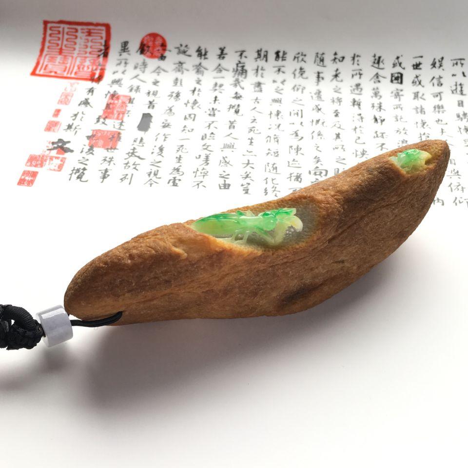 (超值推荐)糯冰种黄加绿带皮雕刻螳螂捕蝉手玩件