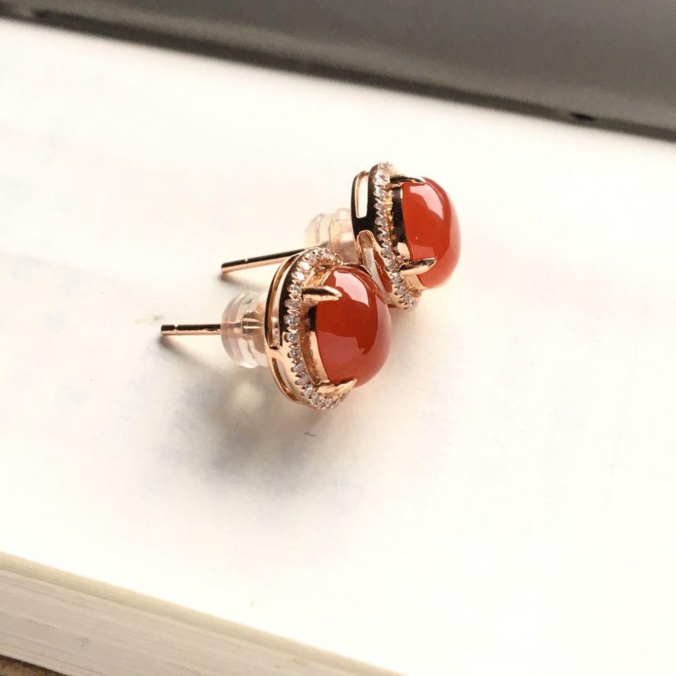(超值推荐)镶玫瑰金冰种红黄翡耳钉