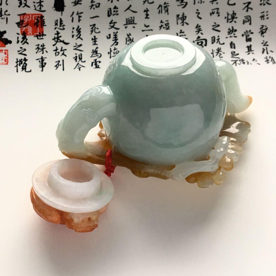 (超值推荐)糯冰种晴水红黄翡茶壶摆件