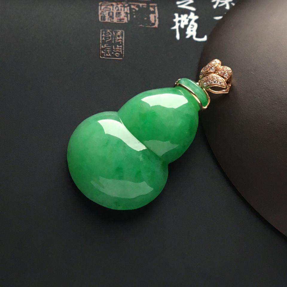 (超值推荐)糯冰种豆绿葫芦挂件