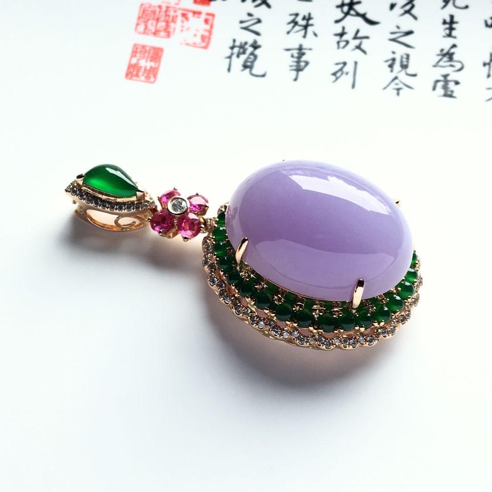 (超值推荐)镶玫瑰金钻石糯冰种紫罗兰胸坠