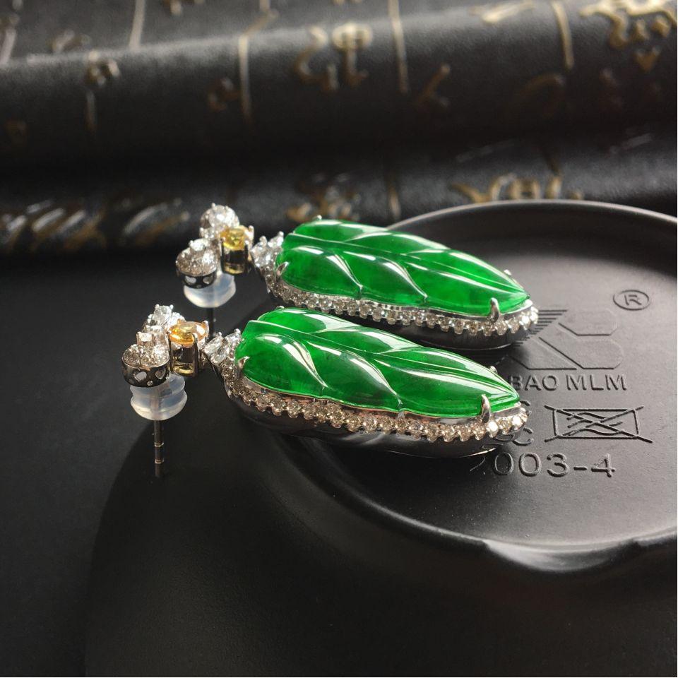 (超值推荐)冰种阳绿镶白金钻石金枝玉叶耳坠