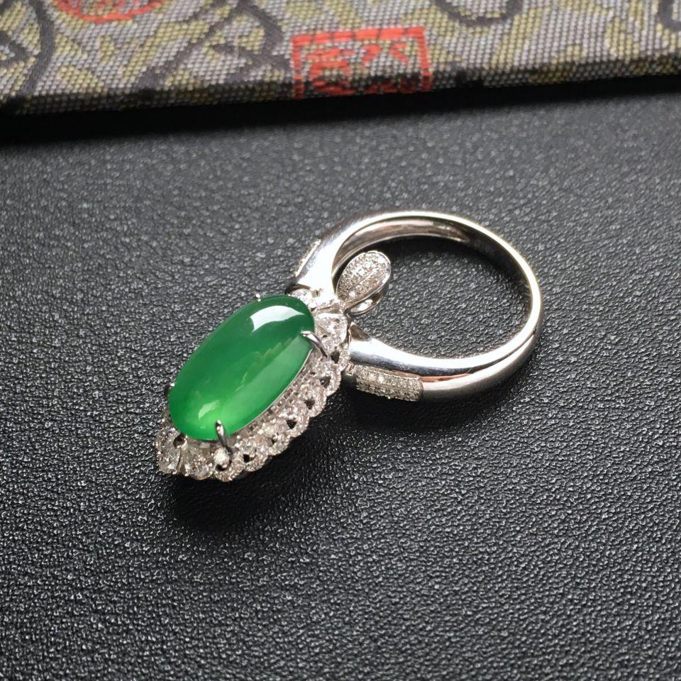 (超值推荐)冰种蓝绿镶白金钻石戒指/胸坠两用
