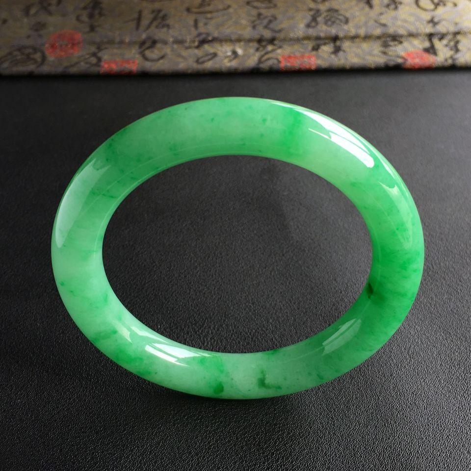 糯冰种翠色圆条手镯(56mm)