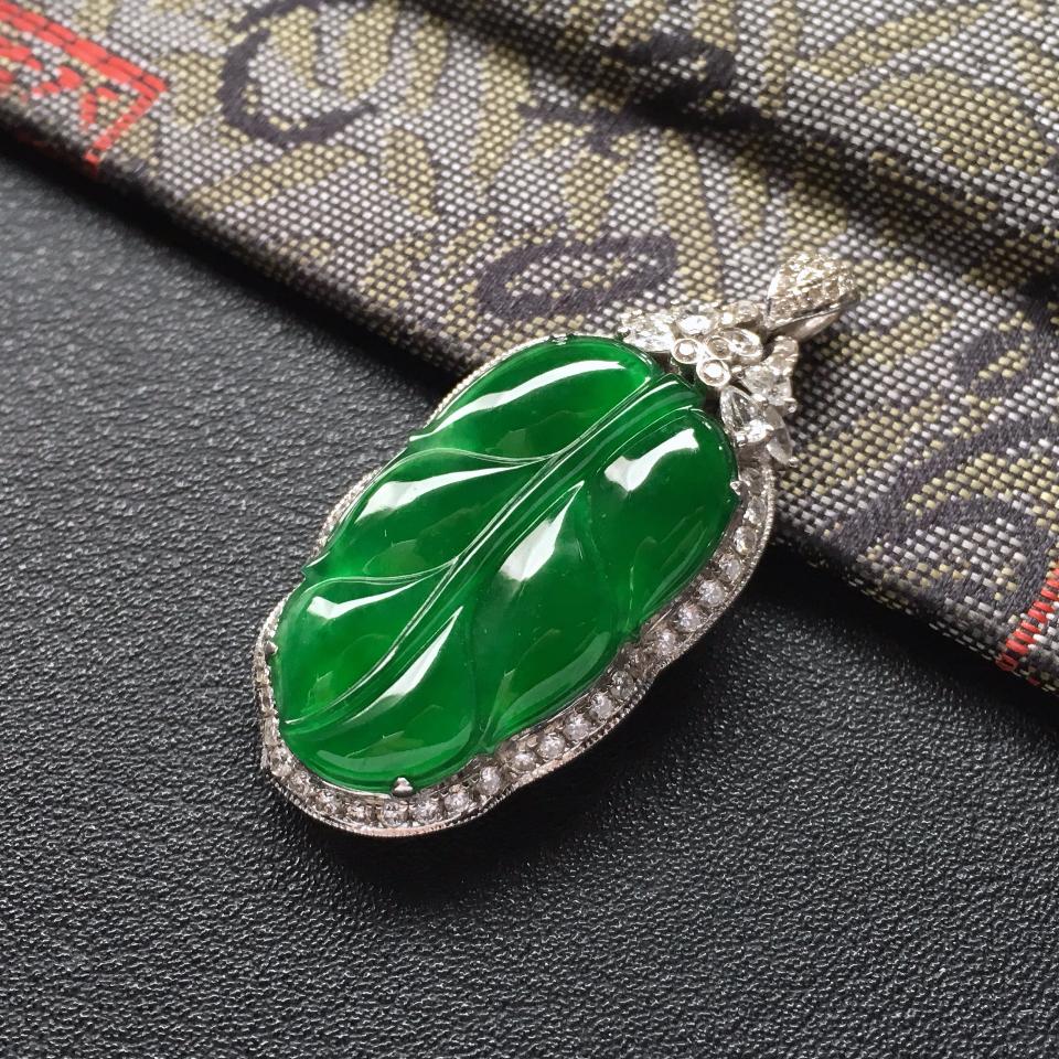 冰种阳绿镶白金钻石金枝玉叶胸坠