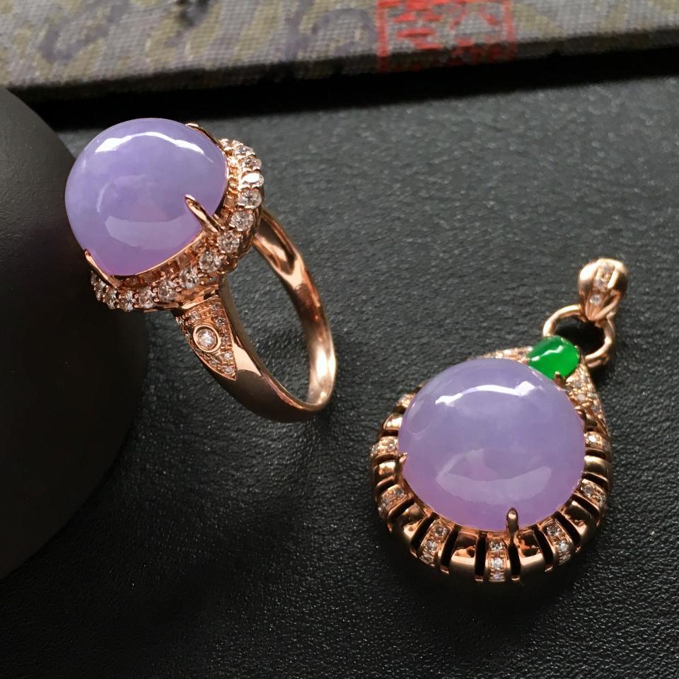 細糯種紫羅蘭鑲玫瑰金鉆石戒指/吊墜一套