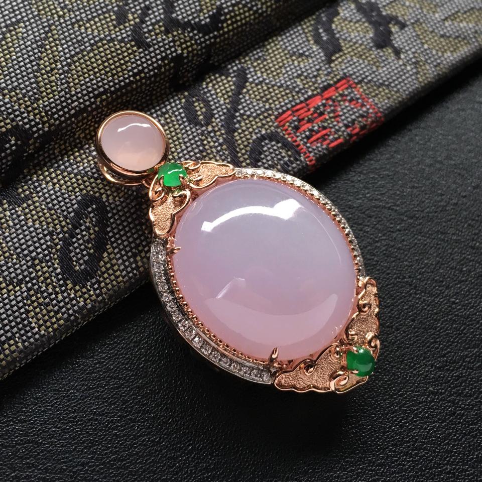 糯冰种粉紫罗兰镶玫瑰金钻石胸坠