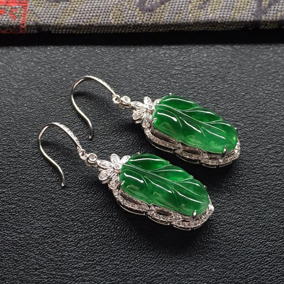 冰种深绿镶白金钻石玉叶耳坠一对走