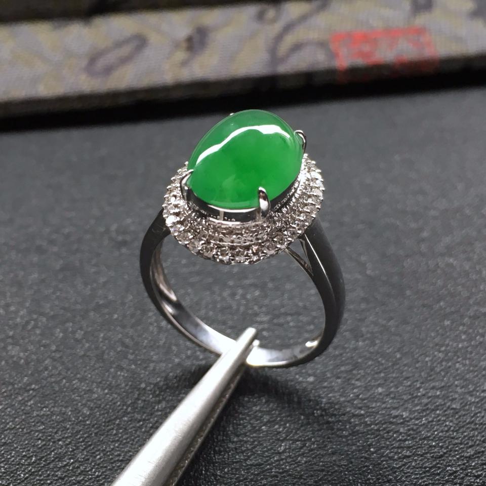 冰种飘翠镶白金钻石戒指
