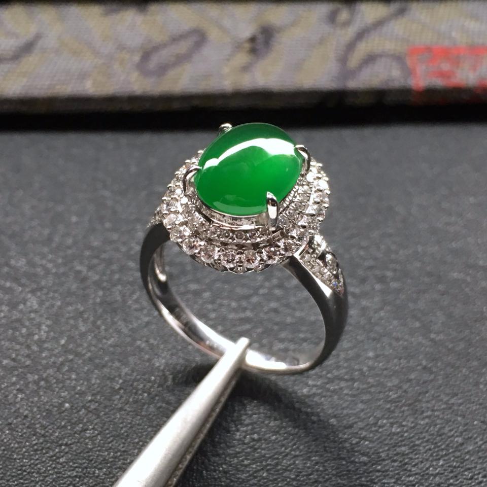 冰种深绿镶白金钻石戒指