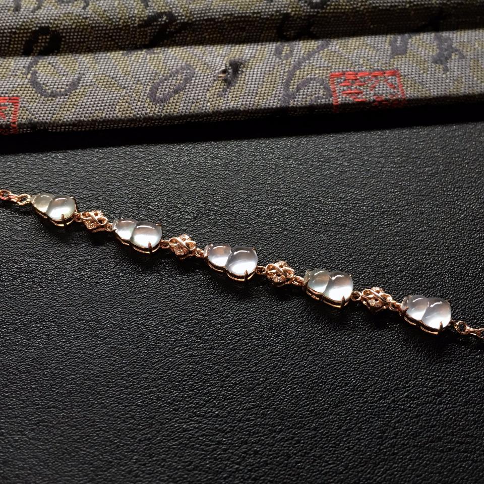 冰种无色镶玫瑰金钻石葫芦手链
