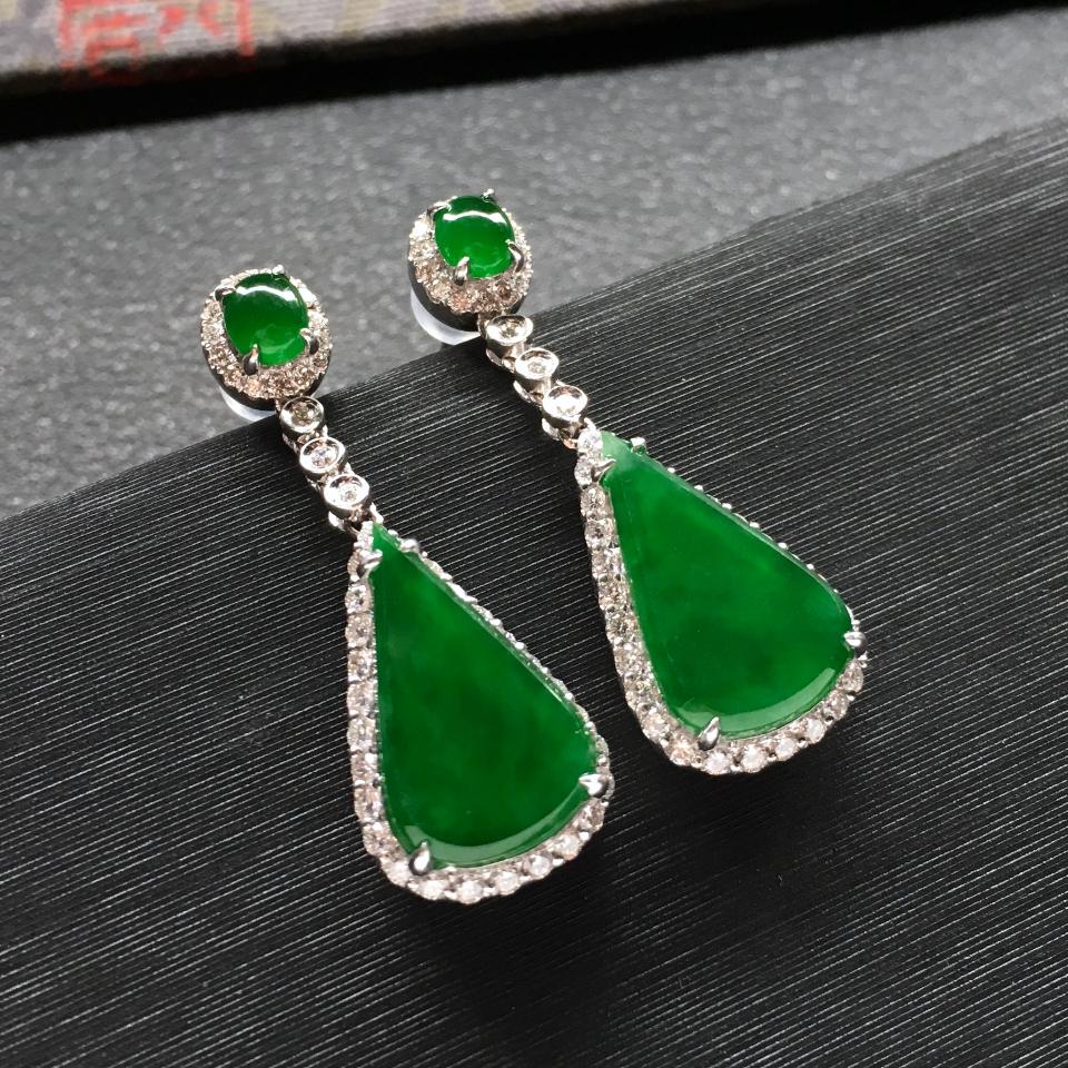 冰种阳绿镶白金钻石水滴耳坠一对