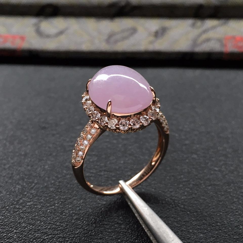 糯冰种粉紫罗兰镶玫瑰金钻石戒指