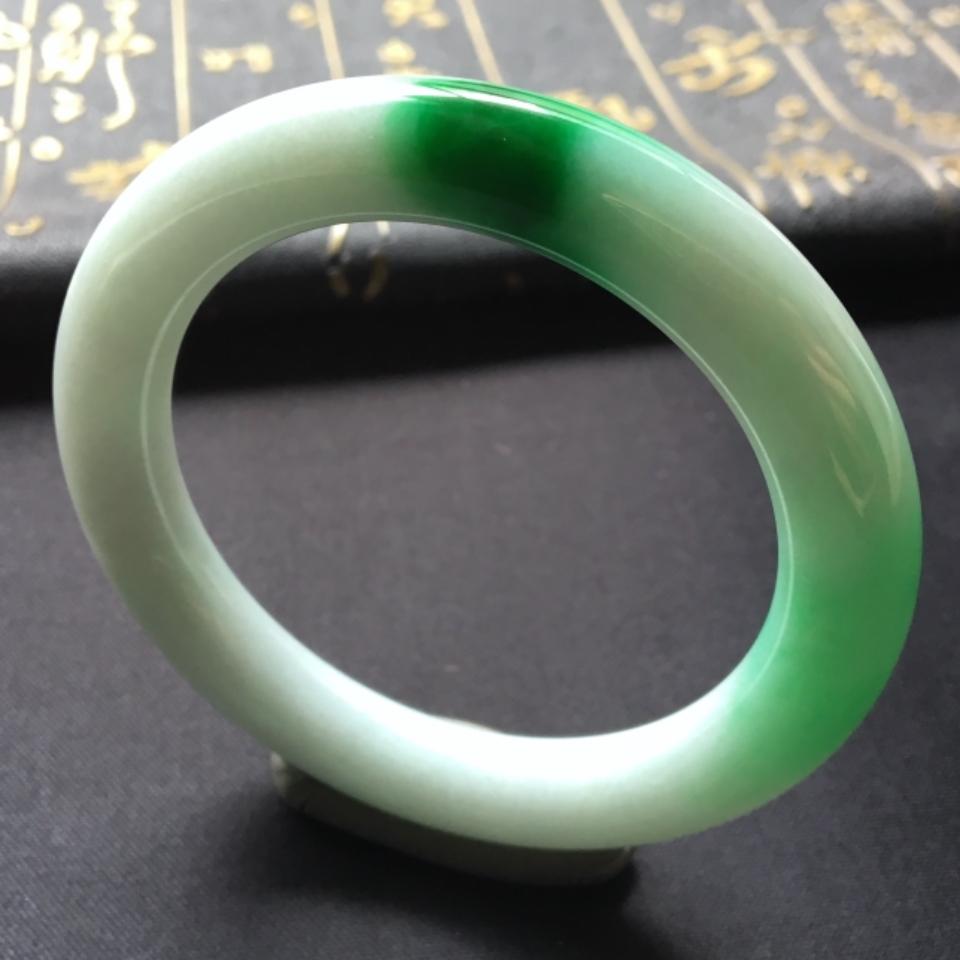 糯冰种飘翠圆条手镯(54mm)