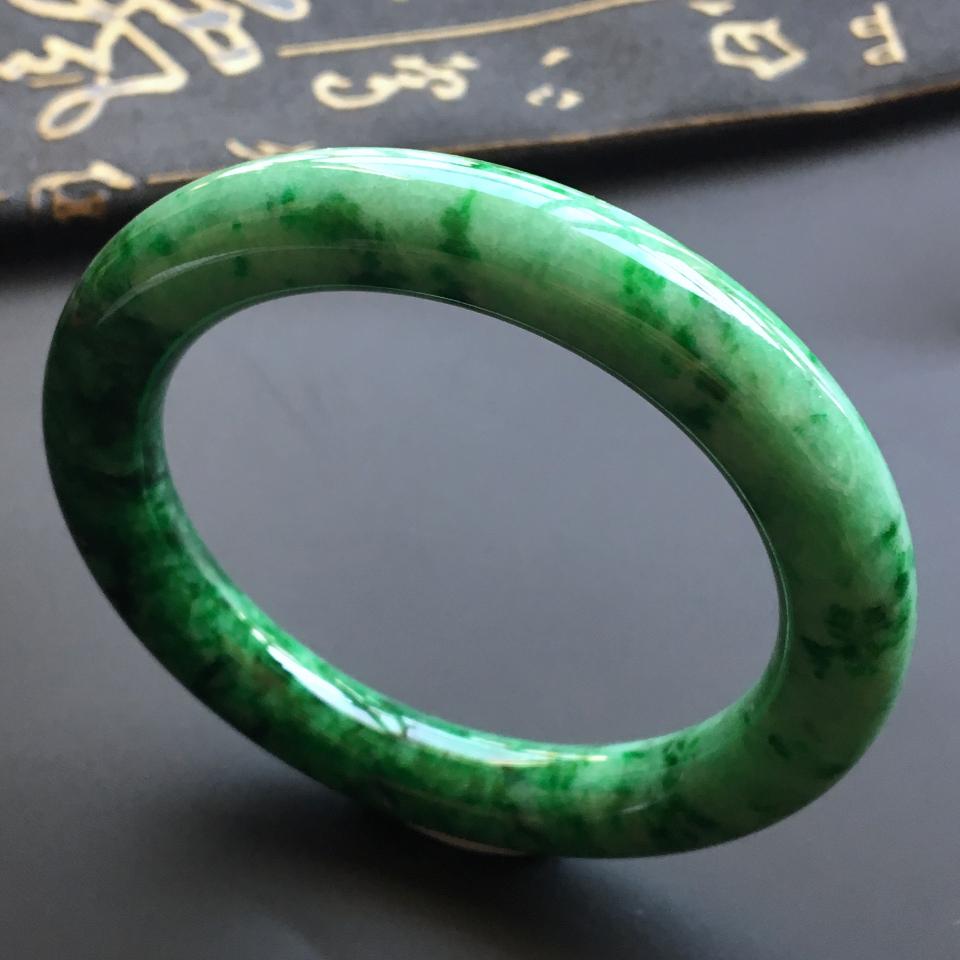细糯种浓绿圆条手镯(54.5mm)