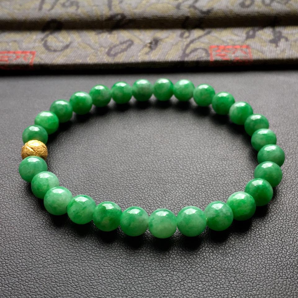 细糯种深绿圆珠手串