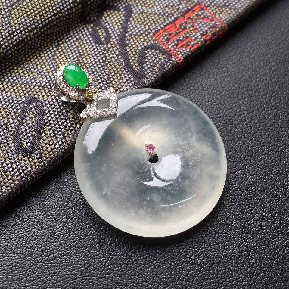 冰种淡晴水镶白金钻石平安扣胸坠