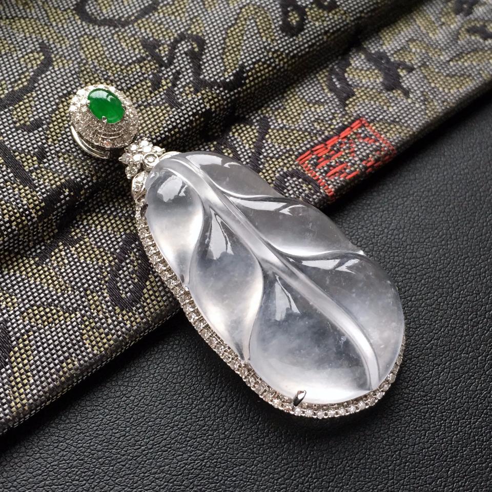 (超值推荐)冰种淡晴水镶白金钻石玉叶胸坠