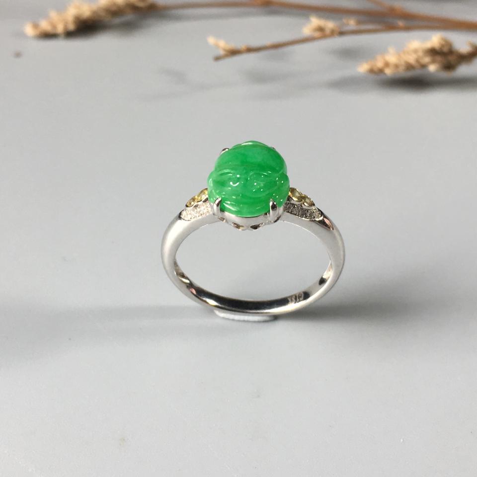(超值推荐)镶白金钻石糯冰种翠色金蟾戒指