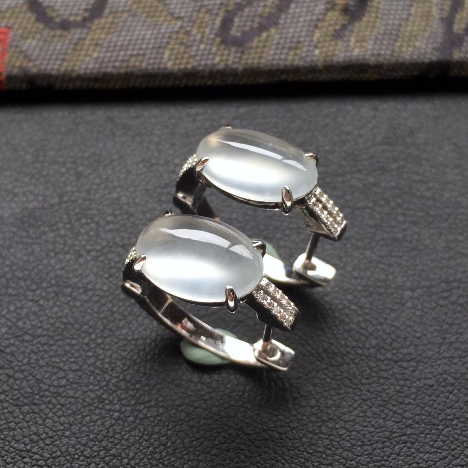 (超值推荐)冰玻种起光无色镶白金钻石耳环一对