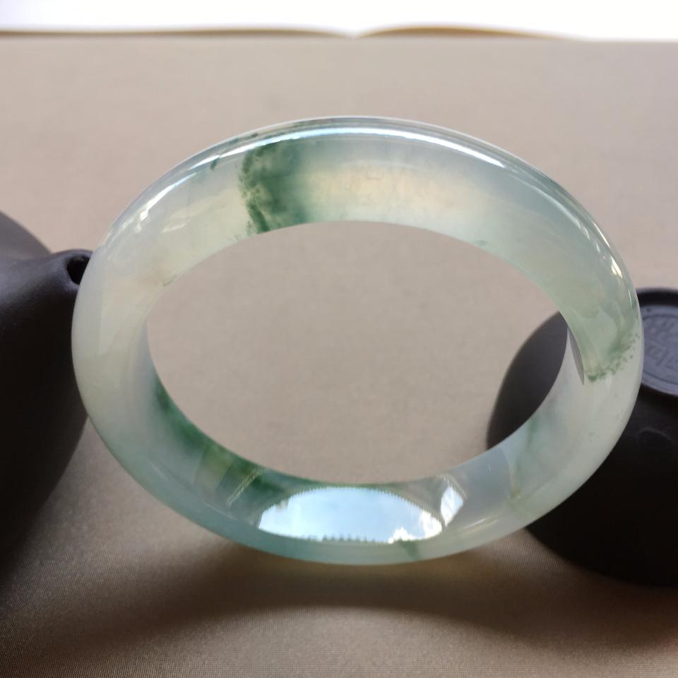 (超值推薦)冰種飄綠花正圈手鐲 55.5 mm