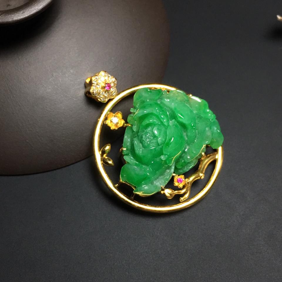 (超值推荐)镶18k黄金钻石糯冰种翠色一枝独秀胸坠
