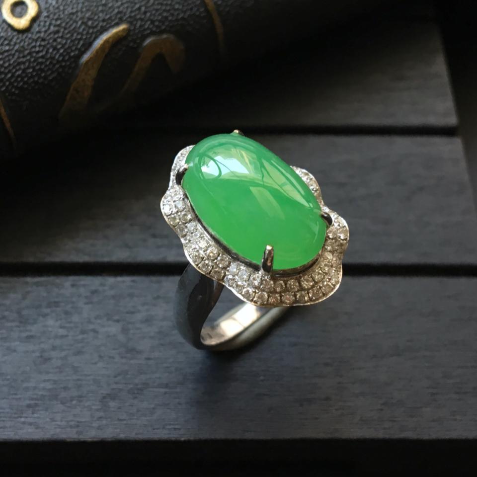 (超值推荐)冰种翠色镶白金钻石戒指13.5#