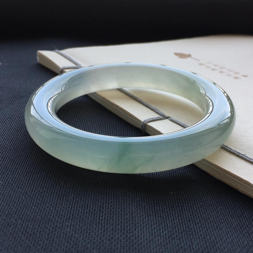 冰種晴水飄花圓條手鐲(56mm)