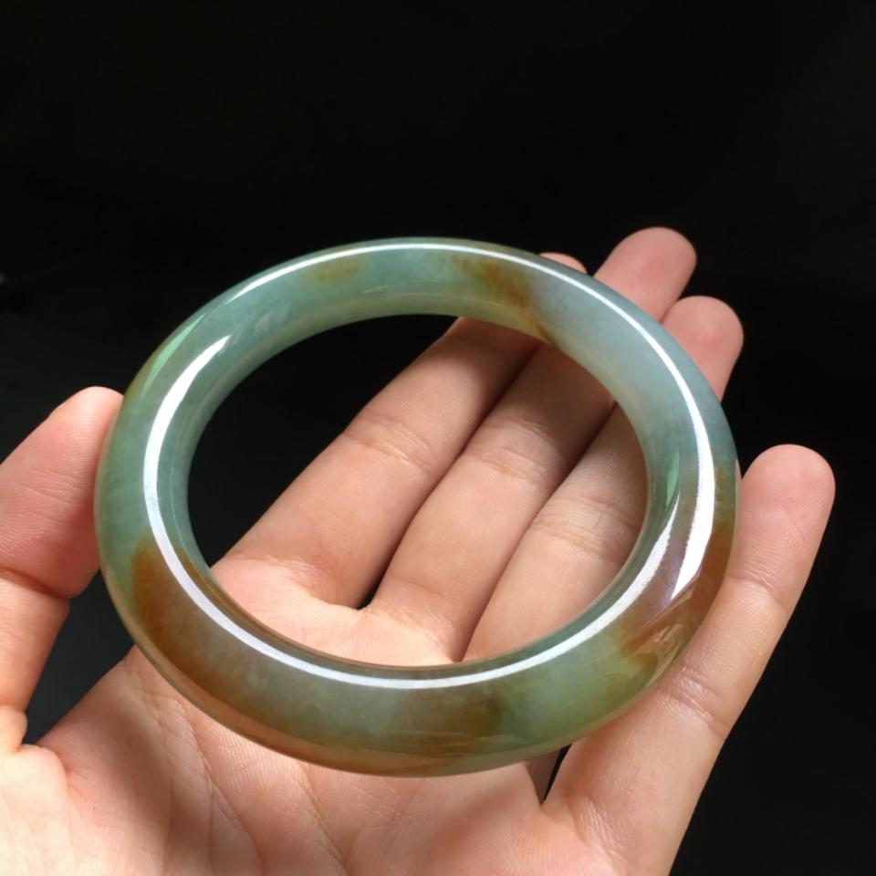 (超值推荐)糯冰种黄加绿圆条手镯59.1mm