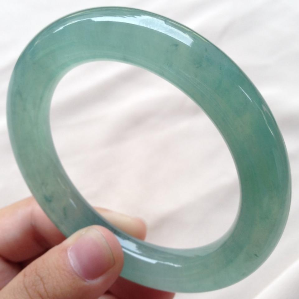 (超值推荐)冰种晴水绿圆条手镯
