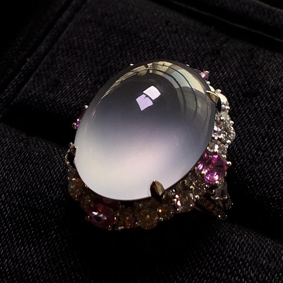 冰種鑲白金鉆石戒指翡翠