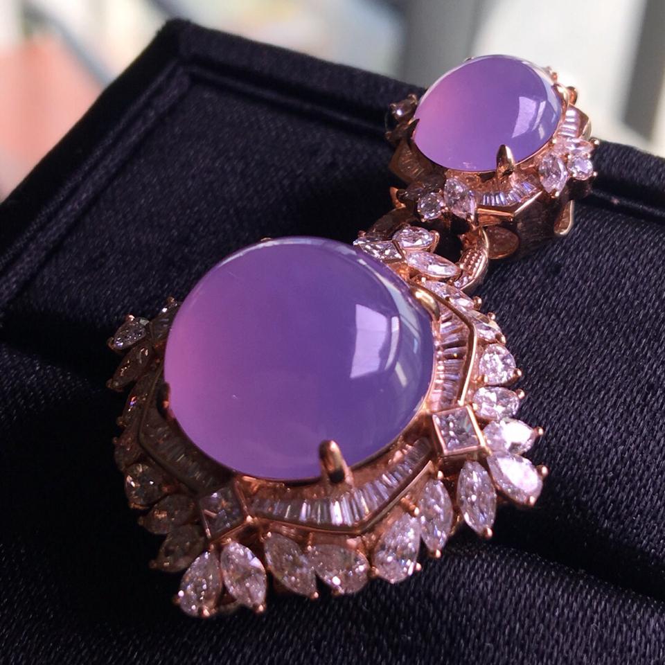 冰种紫罗兰镶玫瑰金钻石戒指、胸坠两用款翡翠