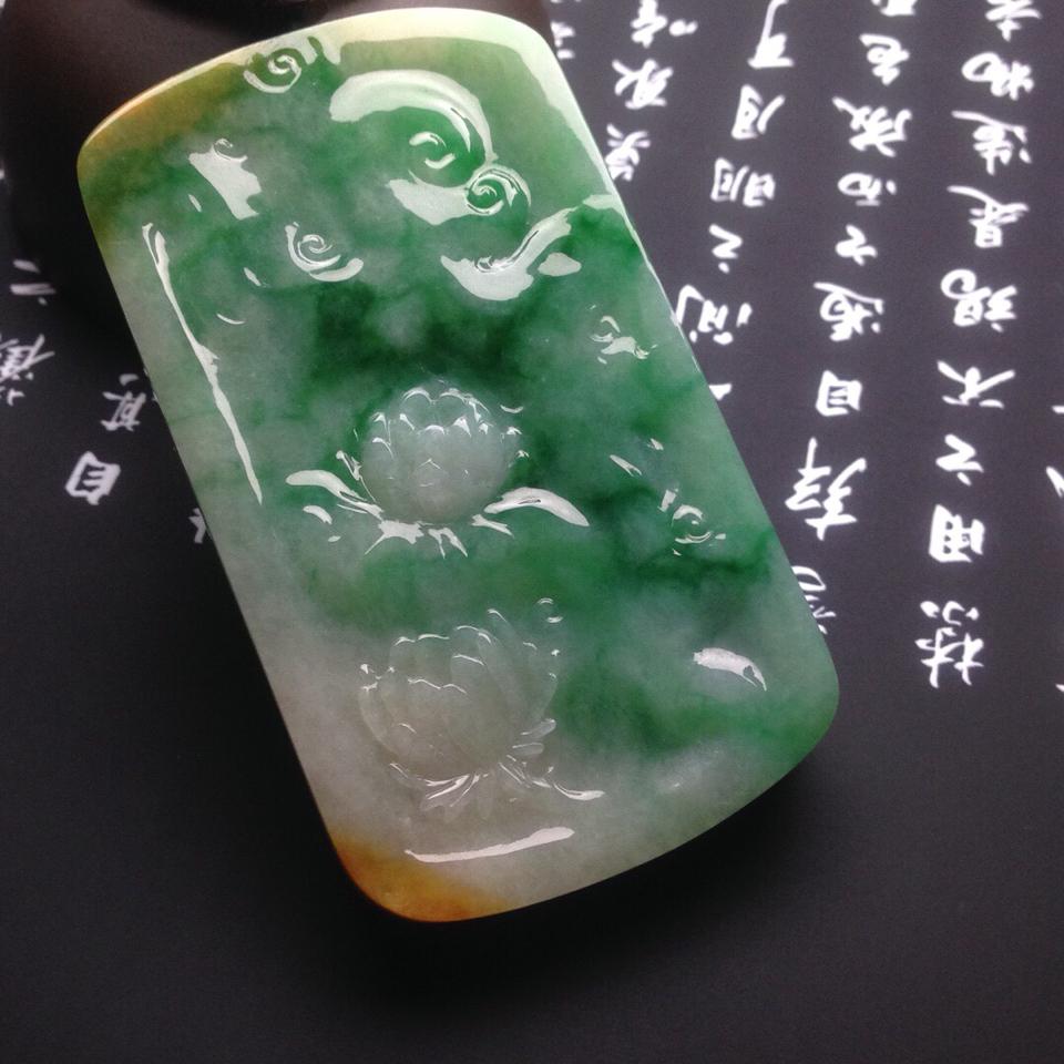 糯冰种多彩韦陀菩萨挂件翡翠