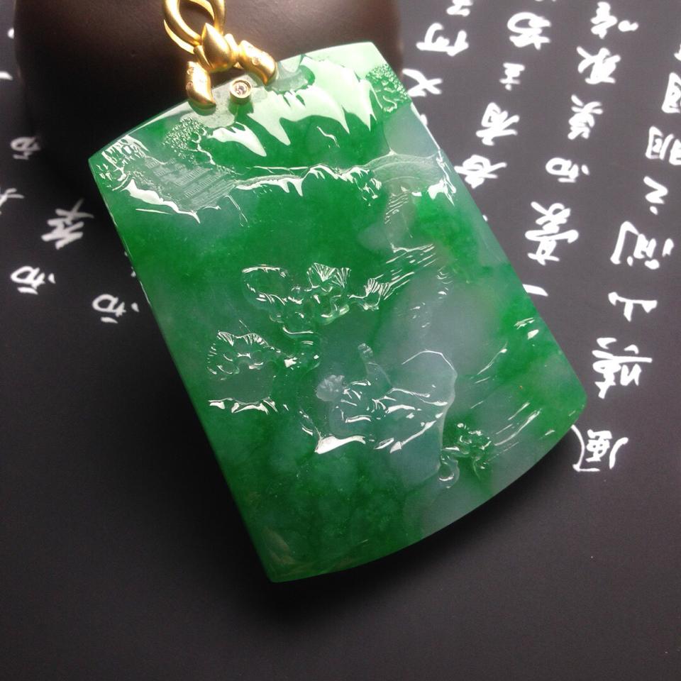 糯冰种阳绿悠然自得挂件翡翠