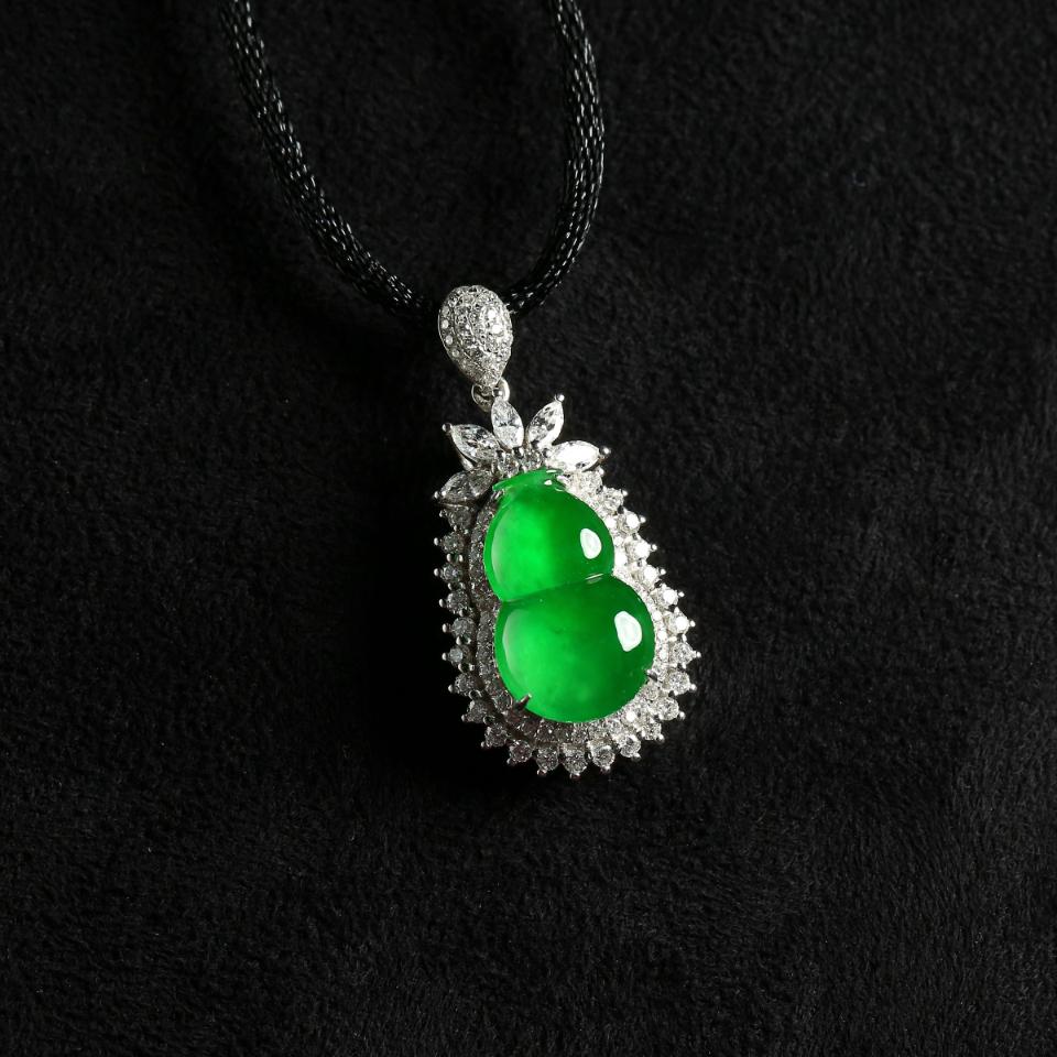 冰种满绿镶嵌葫芦吊坠
