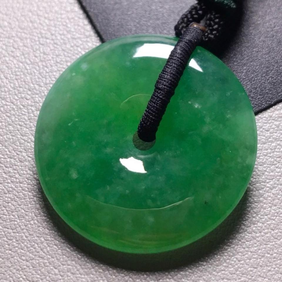 冰种满绿平安扣挂件翡翠