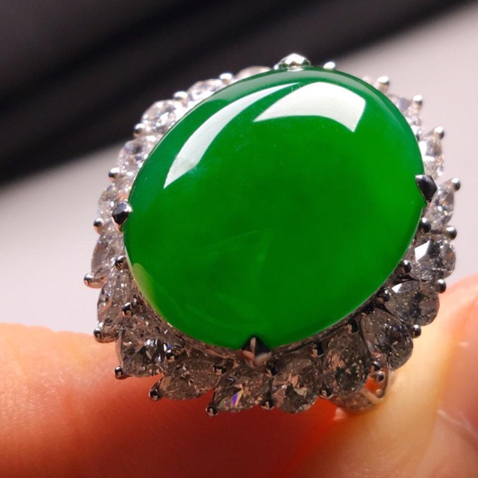 冰種滿綠豪鑲白金鉆石戒指翡翠