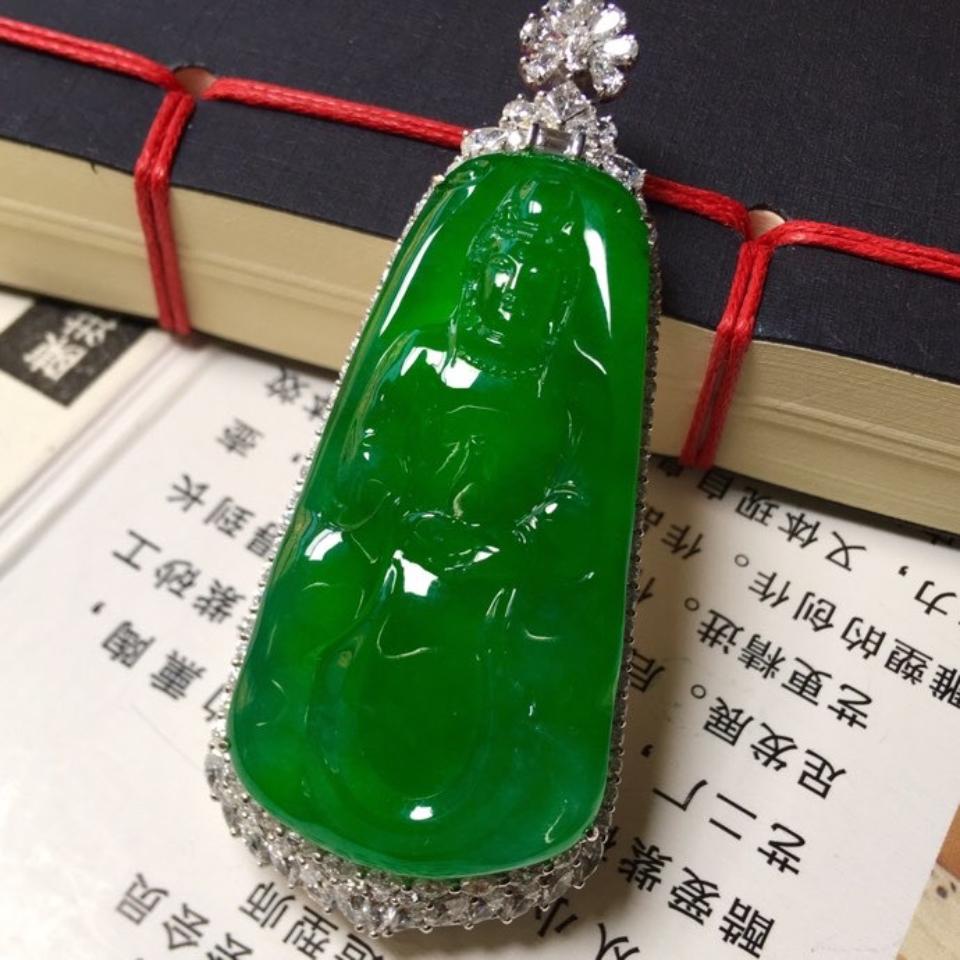冰种阳绿镶白金钻石观音挂件翡翠
