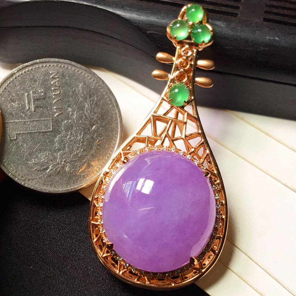 糯冰种紫罗兰镶玫瑰金钻石胸针、胸坠(两用款)翡翠