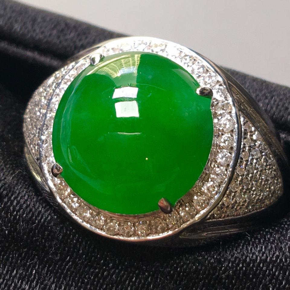 冰种满绿镶白金钻石戒指(男戒)翡翠