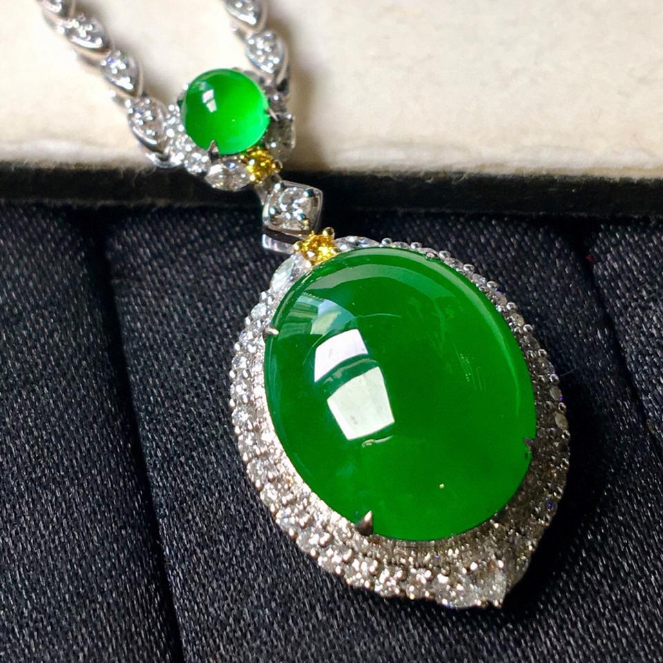 冰种阳绿镶白金钻石项链翡翠