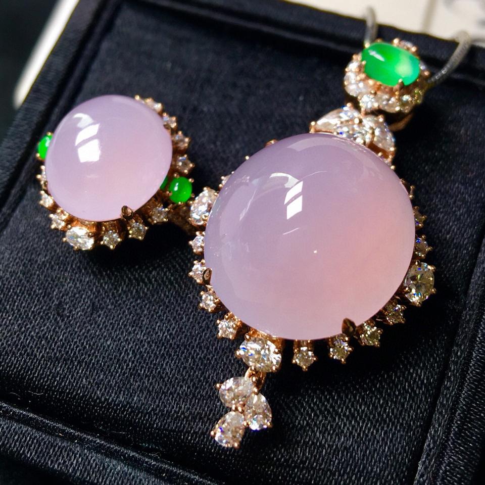 冰种紫罗兰镶玫瑰金钻石胸坠、戒指(一套)翡翠